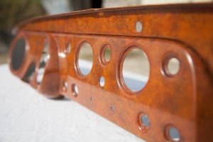 Triumph Frog-eyed Sprite dashboard restoration with burr walnute painted wood effect