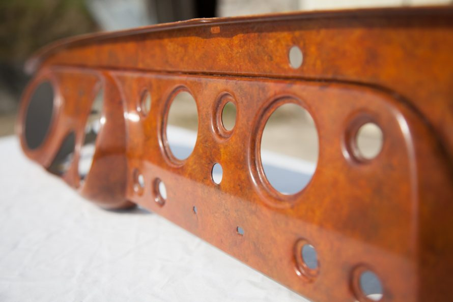 Triumph Frog-eyed Sprite dashboard restoration with burr walnut painted wood effect