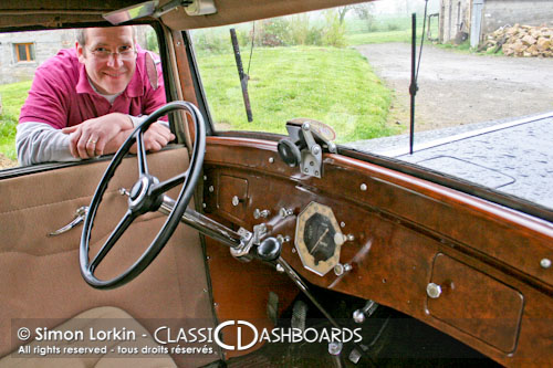 Wooden and metal classic car dashboard restorer Simon Lorkin