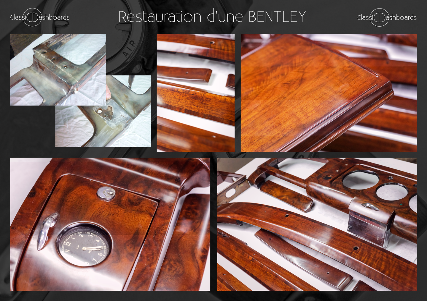 Dashboard and wooden interior trim restoration of a classic Bentley