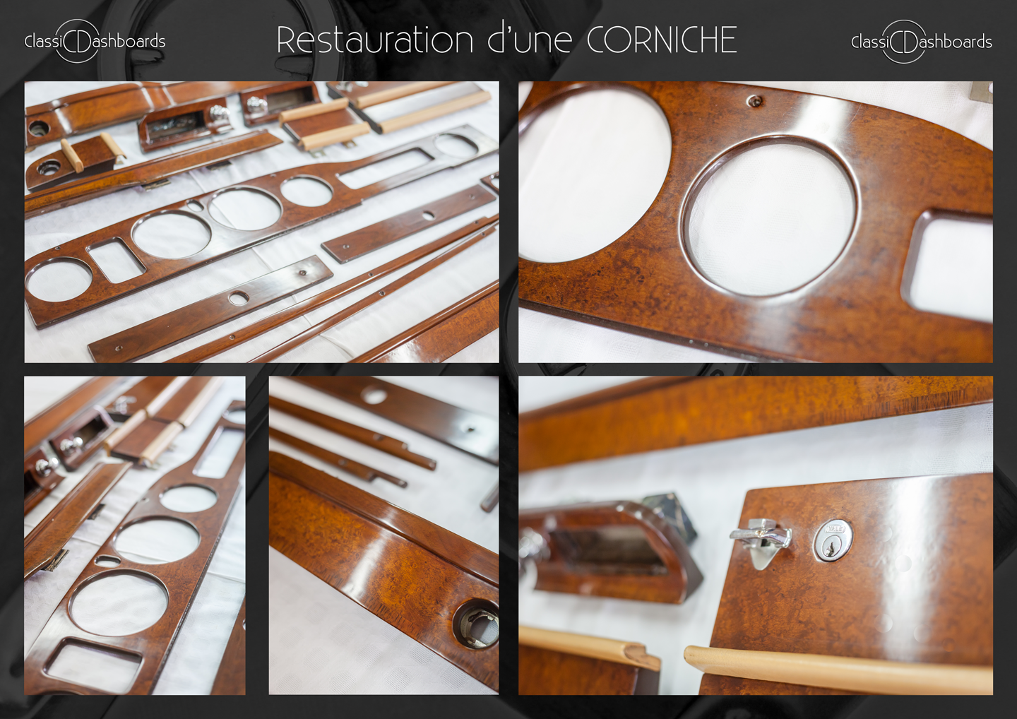 Dashboard and wooden interior trim restoration of a classic Rolls Royce Corniche