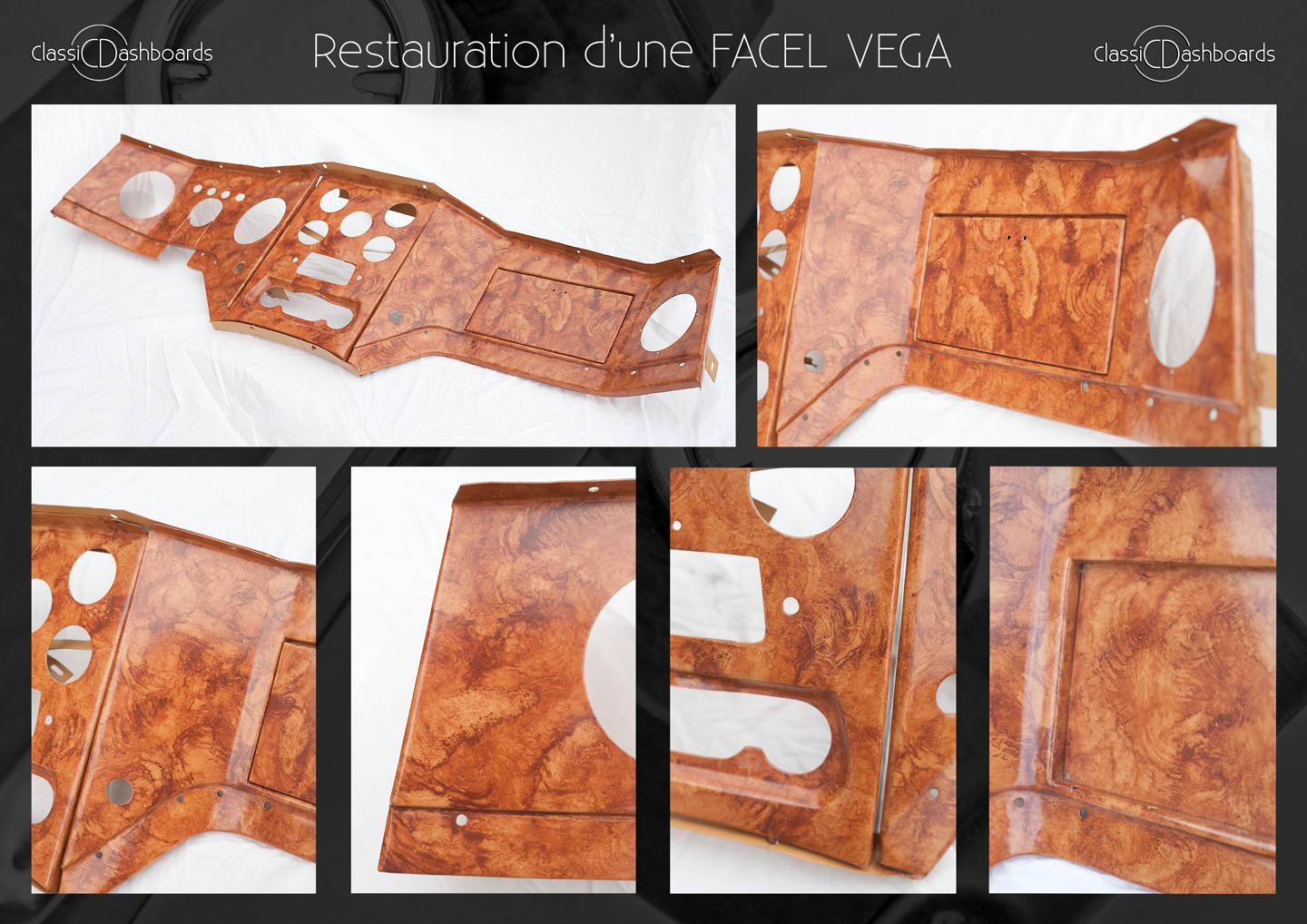 Hand painted wood effect for a Facel Vega dashboard Restoration