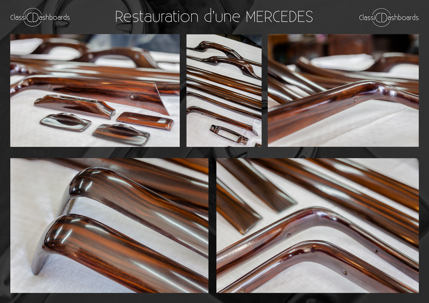 Dashboard and wooden interior trim restoration of a classic Mercedes