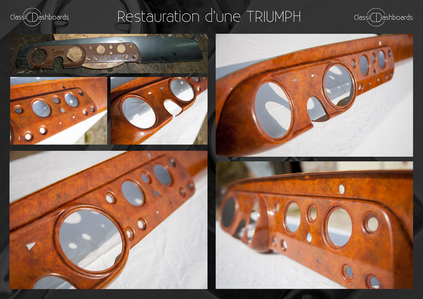 Hand painted wood effect for a Triumph Frog-eyed Sprite dashboard Restoration