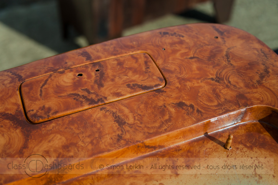 Hand painted Facel Vega wood effect for the seat back by Simon Lorkin